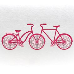 Letterpress Bicycle Tandem His and Her in Magenta by letterpress