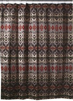 Montana Geometric Southwest Fabric Shower Curtain (JB2095) - A great addition to your Southwestern or ...