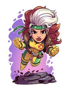 Marvel Drawing Chibi Rogue Print — Derek Laufman - **Price is in US Dollars** Signed x Print on high quality gloss stock. Chibi Superhero, Chibi Marvel, Marvel Art, Marvel Heroes, Character Drawing, Comic Character, Character Illustration, Marvel Drawings, Cartoon Drawings