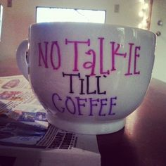 No talkie till coffee ceramic hand painted by BlissfullyPeachy, $12.00