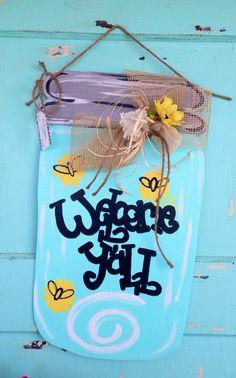 Mason Jar Door Hanger Gift Door Hanger Personalized by paintchic, $35.00