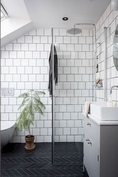 my scandinavian home: 10 Ways To Turn a Pokey Top . my scandinavian home: 10 Ways To Turn a Pokey Top Floor Flat Into A Swoon-Worthy Living Space / black and white bathroom Small Attic Bathroom, Loft Bathroom, Upstairs Bathrooms, Bathroom Flooring, Bathroom Wall, Remodel Bathroom, Bathroom Ideas, Bathroom Designs, Master Bathrooms