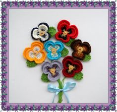 The price is for ONE flower   MADE TO ORDER - ANY COLORS, PIN FASTENER CAN BE ATTACHED - JUST ASK ME  Hand crocheted using multicolored Acrylic