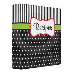 Retro Dot Recipe Binder from Zazzle.com