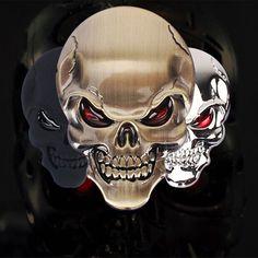 1 Pcs 3D Crâne En Alliage de Zinc Métal Voiture Moto Autocollant Crâne Emblème Badge Voiture Style Autocollants Accessoires De Voiture Décoration