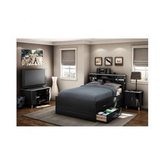 Full Bed with Bookcase Headboard and Storage - Walmart.com ...
