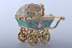 nevehyacinth:  Baby Carriage Trinket Box by Keren Kopal  Faberge Egg Swarovski Crystal Jewelry❤❤❤