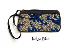 Women's Blue Cotton Colorful Wristlet Bag Cell Phone Purse Coin Purse Fair Trade
