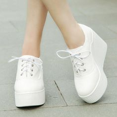 Women's Creeper Lace up Canvas Wedge High Heel Platform Casual Sneakers shoes US