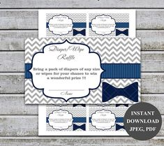 Printable Bow Tie Boy Baby Shower Game Diaper Wipe Raffle Tickets / Printable Baby Boy Shower Games Diaper Raffle Wipe Raffle Card ( digital file ) . Size 3.5 x 2 per page 8.5 x 11 You will receive a 8.5 x 11 PDF and JPEG files that contains ten 3.5 x 2 diaper raffle cards on one sheet of