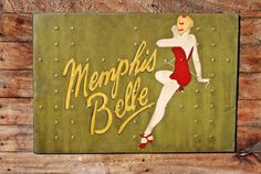 Memphis Belle  B17F Flying Fortress nose art on reclaimed plywood by KingstonCreations, $200.00  See more at www.kingstonshots.wordpress.com  www.kingstoncreations.etsy.com