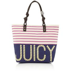Juicy Couture Striped Beach Tote ($180) ❤ liked on Polyvore