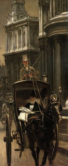 Painting by James Tissot  A beautiful Hansom Cab!