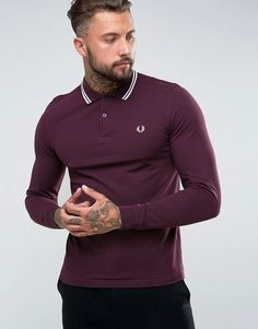 Get this Fred Perry's polo shirt now! Click for more details. Worldwide shipping. Fred Perry Slim Fit Long Sleeve Tipped Polo In Burgundy - Red: Polo shirt by Fred Perry, Breathable cotton pique, Polo collar, Button placket, Signature twin tipping detail on collar and cuffs, Long sleeves, Slim fit - cut close to the body, Machine wash, 100% Cotton, Our model wears a size Medium and is 192cm/6'3.5 tall. Fred Perry's authentic menswear collection is heavily influenced by the brand's historical…