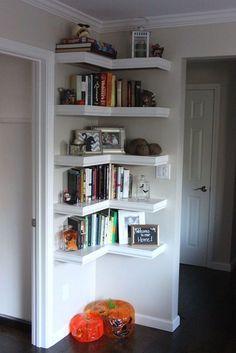 Create a bookshelf in a empty corner space-end of hallway