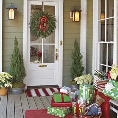 Presents for Your Porch - Southern Living  Our porch isn't covered so I may cover boxes with plastic Christmas tablecloths from a thrift store, waterproof and practical.