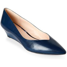 Nine West Navy Elenta Pointed Toe Wedge Heels (£31) ❤ liked on Polyvore featuring shoes, pumps, blue, navy blue wedge pumps, navy wedge shoes, wedge shoes, navy wedge pumps and blue pointed toe pumps