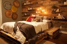 DIY Ideas DIY Wooden Pallet Wall For Traditional Classic Bedroom Design With Shelving Systems And Rainy Pendant Bulb Lighting How to Make a DIY Pallet Wall?