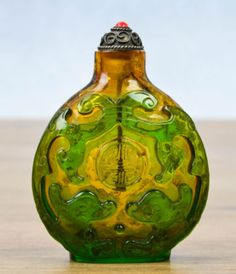 20th C Glass Overlay Carved Snuff Bottle.