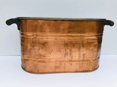 Excited to share this item from my #etsy shop: Vintage, Large, Copper Boiler Washtub Basin, With Wooden Handles #copper #gray #kitchendining #copperbasins #copperwashtubs #copperboilers #vintagecopper #copperstorage #coppercontainer Vintage Yellow, Vintage Colors, Vintage Items, Wash Tubs, Boiler, Wooden Handles, Household Items, Firewood, Basin