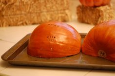 Just what I've been searching for: Instructions on preparing a 'Pie' or 'Sugar' pumpkin for baking. Goodbye canned pumpkin! This site has the pie recipe too (just in case you've relied on the can for the puree AND the recipe)