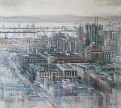 Cape Town cityscape by Karen Wykerd - Misty Morning' - oil on canvas Paris Skyline, New York Skyline, Contemporary Art For Sale, Art Connection, Art For Sale Online, South African Artists, Artwork Display, Office Art, Online Art Gallery