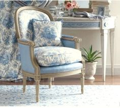 My Faux French Chateau: Antique French Century Red Toile de Jouy Fabric Love the chair! Paisley Curtains, French Country Bedrooms, Country French, Country Blue, French Chairs, French Furniture, Country Furniture, Take A Seat, French Decor