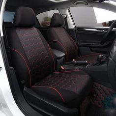 VW VOLKSWAGEN JETTA 11-ON Black White Pipe Front Pair Car Seat Covers Set