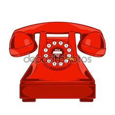 Vintage Red Phone with Buttons Dial Ring isolated on a white background. Monochromatic line art. Retro design. Vector illustration. - Ilustración de stock: 57758515