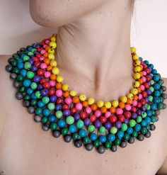 Ethnic Mexican rainbow statement necklace big by JustineJustine