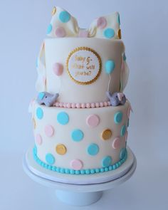 Blush pink blue and gold elephant baby gender reveal cake. Shower Cakes - Short 'N Sweet Cakes