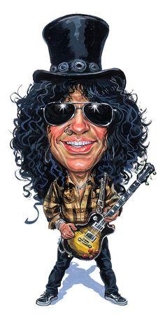 Slash Guns N' Roses, Velvet Revolver, Slash Snakepit Heavy Metal, Funny Caricatures, Celebrity Caricatures, Guns N Roses, Caricature Drawing, Caricature Artist, Rocker, Cartoon Faces, Cartoon Cartoon