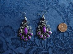 Tibetan Silver with Purple Glass Like Beaded Earrings by LandofBridget, $3.00