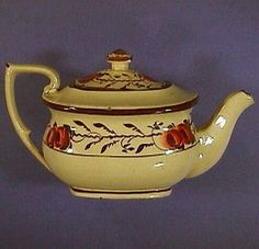 c1820 Child's toy creamware teapot and cover (English, hand painted) from docsantiques on Ruby Lane