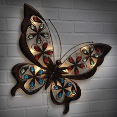 solar led butterfly wall art outdoor home decor garden decoration ornaments gift