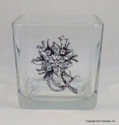 Glass container candy jar votive holder costume pin by swidmom, $12.00