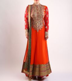 #Orange Embroidered #Cotton And #Net #Anarkali #Suit