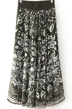 Black Vintage Totem Print Pleated Skirt pictures