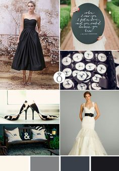 black, gray and white wedding color ideas