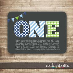 1st Birthday Invitation / 1st, 2nd, 3rd Boy's Birthday Invitation / First Birthday Blue & Green Invitation  - Printable on Etsy, $15.00