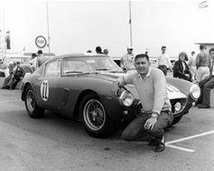 """Glen """"Fireball"""" Roberts next to his NART Ferrari 250 GT SWB that finished 12th. (photo credit: ISC Archives/Getty photo)"""