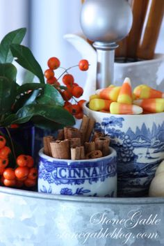 FALL COFFEE BAR ~ of course, candy corn in a blue and white dish.  Happiness!