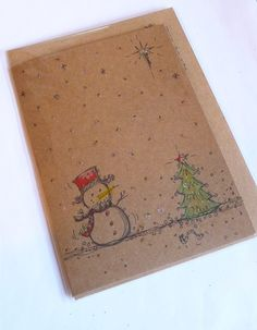 Hand Drawn Christmas Card http://folksy.com/items/4881202-FY-155-Beautiful-Smokey-Blue-and-Brick-Colour-Vintage-Button-Handmade-Necklace