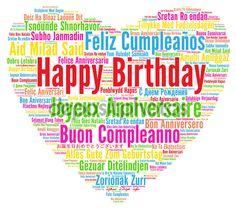 Boldog születésnapot, különböző nyelveken — Stock Kép #127934800