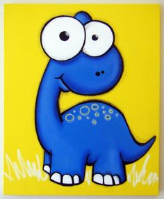 blue dinosaur painting