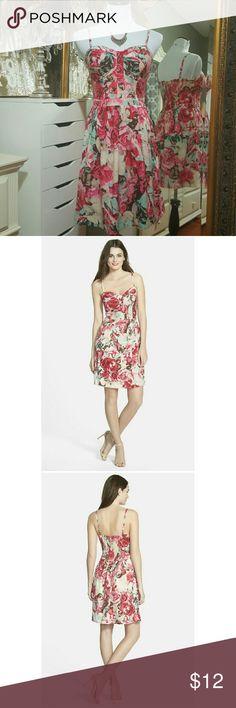 Jessica Simpson floral dress. Pink floral dress with adjustable straps. Jessica Simpson Dresses Midi
