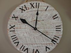 Salvaged Wood Wall Clock In Distressed White. $119.00, via Etsy.