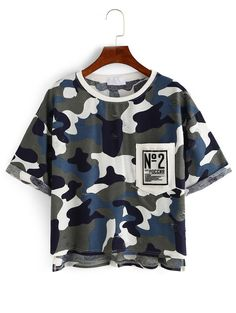Online shopping for Camouflage High-Low Pocket T-shirt from a great selection of women's fashion clothing & more at MakeMeChic.COM.