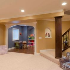 Playroom Design Ideas, Pictures, Remodel, and Decor.  Color ideas for the homeschool room.  Open to painting different walls different colors.