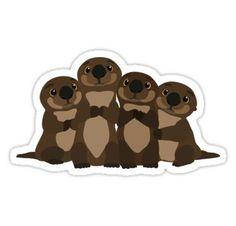Sea otters Q Sticker
